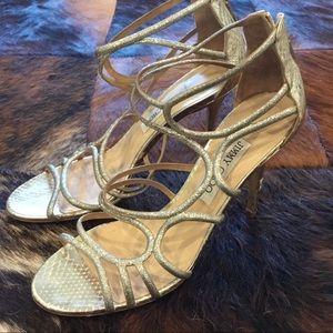 Jimmy Choo Gold Snakeskin High Heel Sandals